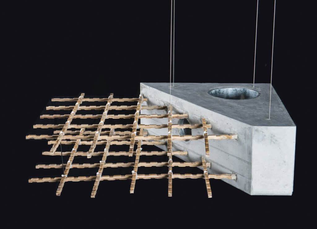 Imagem mostra concreto com bambu